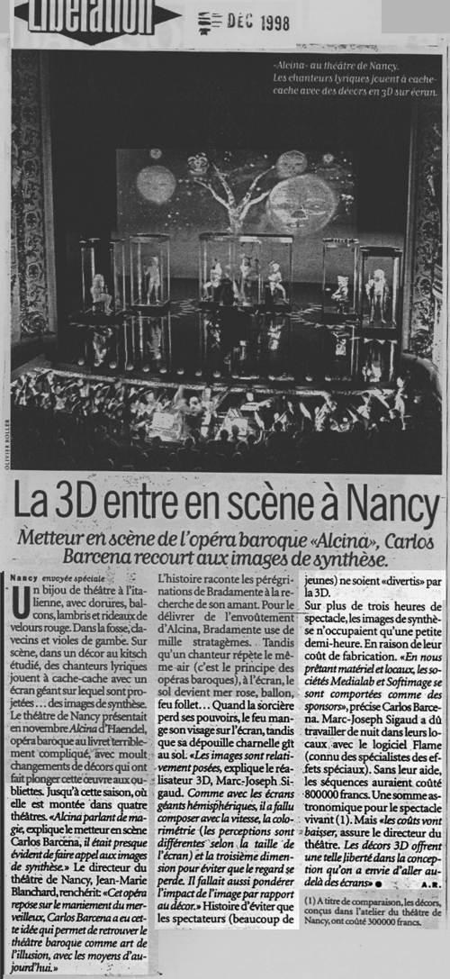Presse opéra Spectacle info ALcina - Decor Video MJ SIGAUD